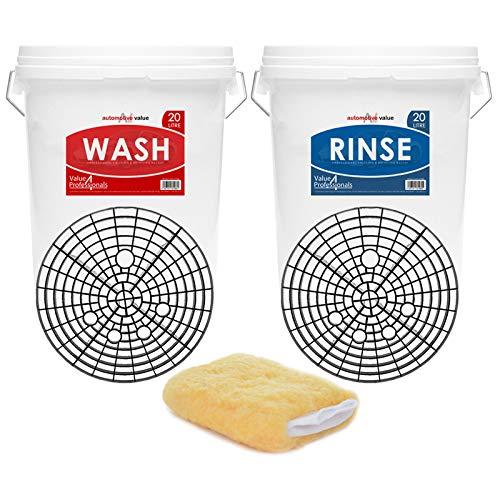 2 Car Wash Buckets & Bucket Barriers - 2 Bucket Wash Method/System - Swirl Free Wash Solution - Wash...