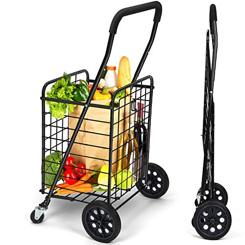 Pipishell Shopping Cart with Dual Swivel Wheels for Groceries - Compact Portable Folding Cart Saves...