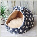 Calculatrice 1 * Bowknot Mascota Caseta pequeña y mediana Cama para Perros Cuatro Estaciones Otoño e Invierno Cuna cálida cama para bebé Tamaño M (4)