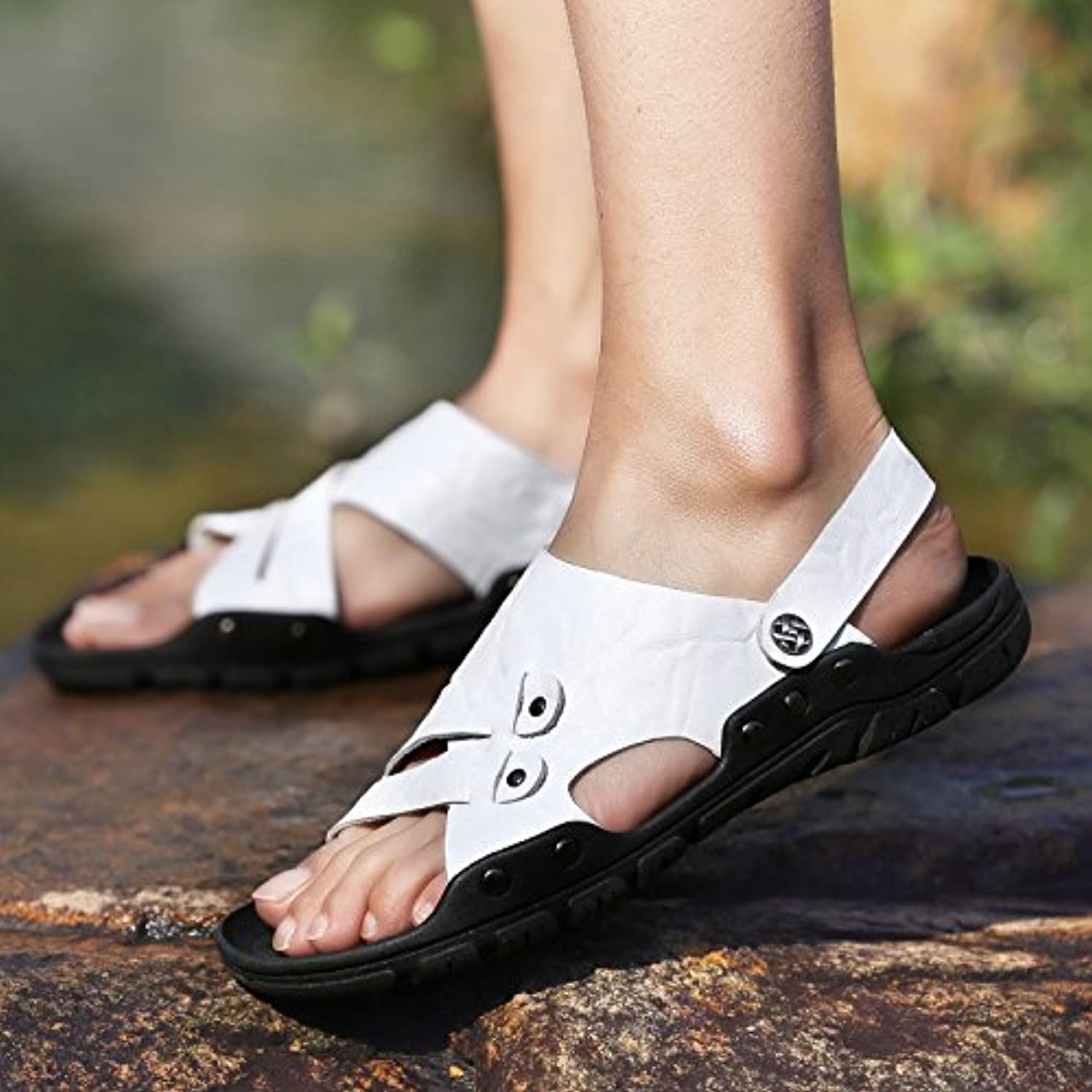 @Sandals New Men'S shoes, Summer Ventilation, Leisure Beach, Toes, Two Wear Cold shoes.