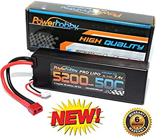 PowerHobby 2S 7.4V 5200mAh 50C Lipo Battery Pack w Deans Plug Hard Case Fits : Hpi Savage Tri Vorza Axial SCX10 Wraith Score Bomber Grave Digger Assoicated