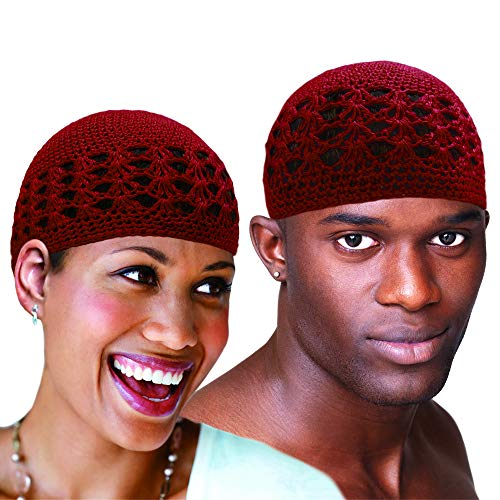Kufi Hat Skull Cap Chemo Knit Headwrap beanie Stretchable Handmade Extra Large One Size Fits for both Men and Women (Burgundy)