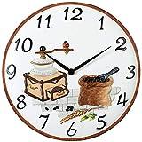 Atlanta - Quarzuhr - Wanduhr - Küchenuhr - Motiv Kaffeemühle - Steingutgehäuse