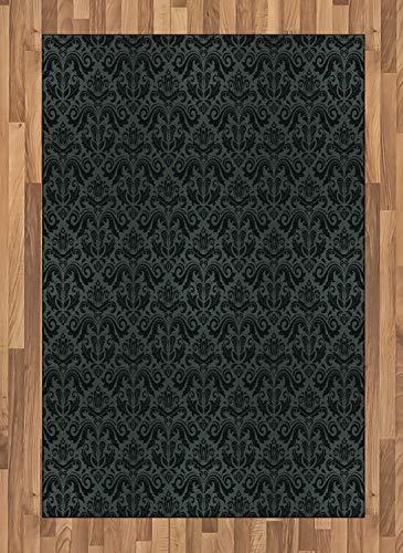 ABAKUHAUS Dark Grey Area Rug, Black Damask and Floral Elements Oriental Antique Ornament Vintage, Flat Woven Accent Rug for Living Room Bedroom Dining Room, 4' X 5.7', Black Grey