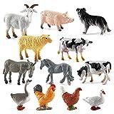 Jsdufs 12 Piezas Juguetes de Animales simulación de plástico...