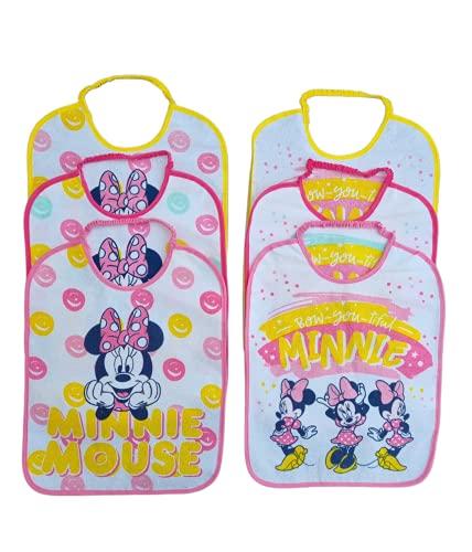 Lot de 6 grands bavoirs en éponge, personnages différents pour lécole maternelle en plastique avec élastique, modèles assortis pour fille 36,5 cm x 28 cm (Minnie)