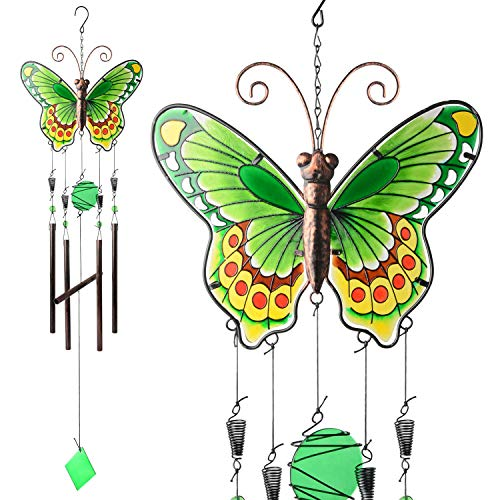JOBOSI Butterfly Wind Chimes, Wind Chimes Outdoor, Wind Chimes Outdoor Large deep Tone, Memorial Gifts, Garden Gifts, Length 37.5 inch, Width 9.75 inch, Big Butterfly Wind Chime