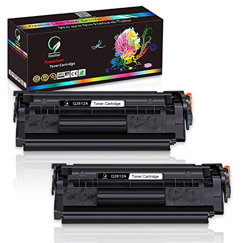 Gootior Compatibile per HP 12A Q2612A Cartuccia di toner per HP Laserjet 1010 1012 1015 1018 1020 1022 1022n 1022nw 3015 3020 3030 3050 3052 3055 M1005 M1319 M1319f Nero 2 Pack