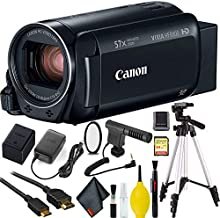 Canon VIXIA HF R800 Camcorder (Black) Bundle with Tripod, 64GB Memory Card, Microphone, UV Filter, and 6Ave Cleaning Kit