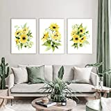 Arte de la flor Pintura en lienzo Pétalos amarillos Arte Carteles e impresiones nórdicos Cuadros de pared de acuarela para la decoración de la sala de estar 60x80cm (23.6x31.5in) x3 Sin marco