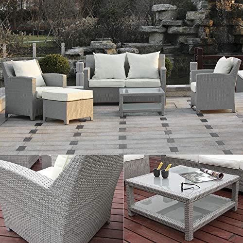 Hansson - Conjunto de muebles de jardín de polirratán, sofá doble, sillón,...