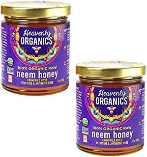 Heavenly Organics 100% Organic Raw Neem Honey (12 Oz, 2Pack); Lightly Filtered to Preserve Vitamins, Minerals and Enzymes;...