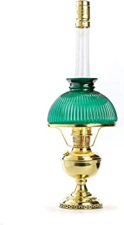 Aladdin Super Table Oil Lamp with Green Ribbed Shade