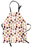 Ambesonne Food Apron, Donuts and Little Hearts Pattern Colorful Yummy Delicious Desserts Print, Unisex Kitchen Bib with Adjustable Neck for Cooking Gardening, Adult Size, Pink Brown