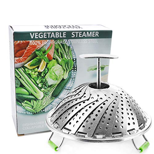 Steamer Basket Stainless Steel Vegetable Steamer Basket Folding Steamer Insert for Veggie Fish Seafood Cooking Expandable to Fit Various Size Pot 5.1' to 9' (Medium)