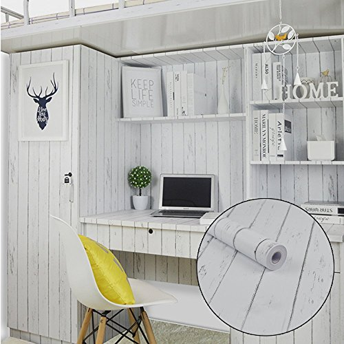Lovefaye Bande de revêtement en papier autocollant style nordique blanc grain de bois pour meuble 45 x 298,7 cm