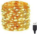 [20M/200 LED] Guirnaldas Luces Exterior, MoreCro 20M 200LED USB Cadena de Luces de Hadas IP65 Impermeable, Iluminación Decorativa para Navidad, Jardín, Terraza, Habitación, Boda, Fiesta(Blanco Cálido)