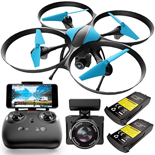 Force1 U49WF Drone with Camera for Adults - WiFi FPV Drone, VR Headset Compatible with 720P HD Drone Camera and 2 Extra Drone Batteries