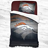 Comforter Twin Set Denver Broncos Kids Bedding Set, Decorative 2 Piece Bedding Set with 1 Pillow Sham,Twin Size 53'x79'
