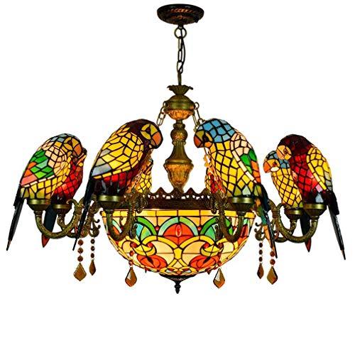 Parrot Tiffany stijl kandelaar, barok vintage vitrail schaduw omgekeerd plafondlamp brons plafondlamp hanglamp voor woonkamer slaapkamer ketting verstelbaar