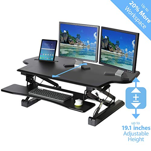 Seville Classics AIRLIFT 47' Extra-Wide Gas-Spring Height Adjustable Standing Desk Converter Workstation with Keyboard Tray Ergonomic Table, Black