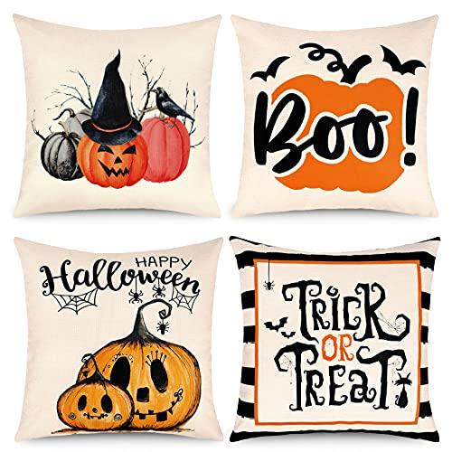 4 Piezas Halloween Funda de Almohada Fundas para Cojines Halloween Decoración Sofá Cama Halloween Decorativas Lino Calabaza Cojines 45 cm x 45 cm