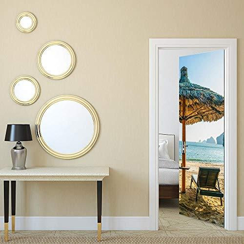 FCFLXJ 3D Türaufkleber für Innentüren, Liegestühle DIY Tür Wandmalereien Foto gedruckt Selbstklebende Wandbilder wasserdichte Tür Aufkleber Vinyl Tür Tapete für Schlafzimmer Badezimmer 95 * 215CM