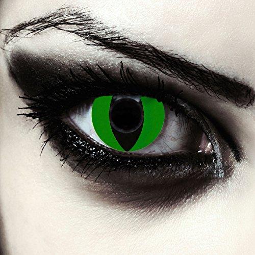 Grüne farbige Katzen Kontaktlinsen ohne Stärke für Halloween Karneval Katzenaugen Farblinsen in grün Design: Green Cateye
