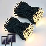 QINOL 2-Pack 400LED 72FT Solar String Lights Outdoor, Green Wire Solar String Mini Lights Outdoor, Waterproof 8 Modes Garden Tree Decorations Twinkle Lights (Warm White)
