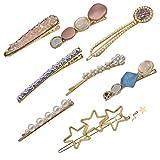 Chstarina 8 Piezas Pinzas para Cabello Mujer Artificiales Perla Pinzas Moda Clip de Pelo Perlas Conjunto de Pinza de Pelo Accesorios de Pelo Horquillas de Pelo para Mujeres Niñas (A)