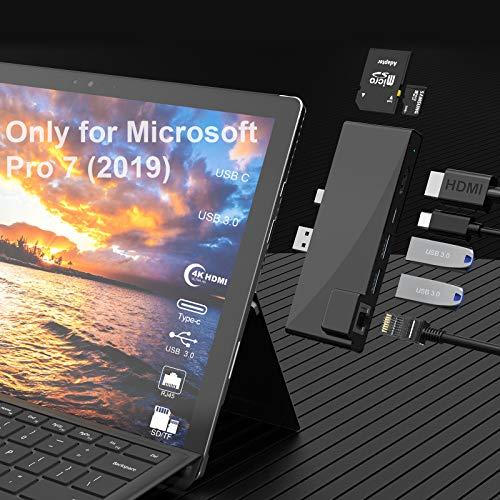 Surface Pro 7 Docking Station Hub,7 en 1 Microsoft Surface Pro 2019 Adapter con 4K HDMI, USB C 60W PD Charging, 2 Puertos USB 3.0, Lector de Tarjetas SD / TF, 1000M Gigabit Ethernet LAN