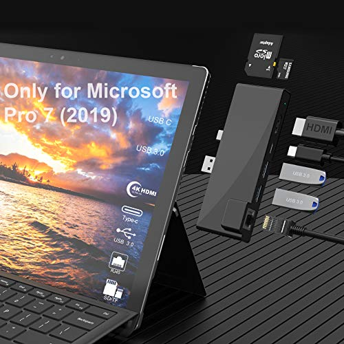 Surface Pro 7 Docking Station Hub,7 In 1 Microsoft Surface Pro 2019 Adapter with 4K HDMI, USB C 60W PD Charging,2 USB 3.0 Ports,SD/TF Card Reader,1000M Gigabit Ethernet LAN Only for Surface Pro 7