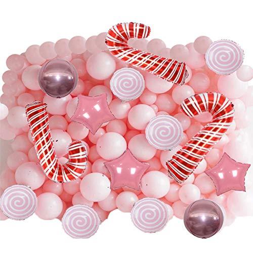 QAQGEAR Pink Party Pearl Macaroon pink lollipop papel de aluminio de cinco puntas estrella globo bola de polvo pared pastel bastón de caramelo látex de color hermoso kit de fiesta