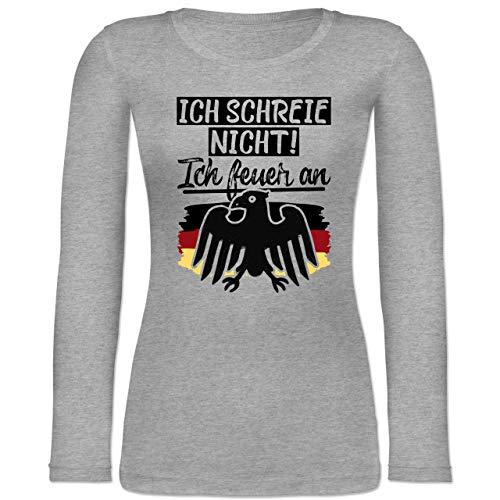 Shirtracer Fußball-Europameisterschaft 2020 - Ich Schreie Nicht! Ich Feuer an - L - Grau meliert - Ich Schreie Nicht! Ich Feuer an - BCTW071 - Langarmshirt Damen