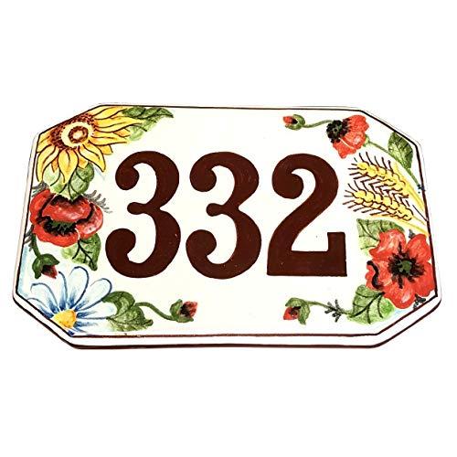 CERAMICHE D'ARTE PARRINI- Ceramica italiana artistica numero civico in ceramica 20x13 personalizzato decorazione girasole,spina di grano e papaveri mattonella fatta a mano made in ITALY Toscana