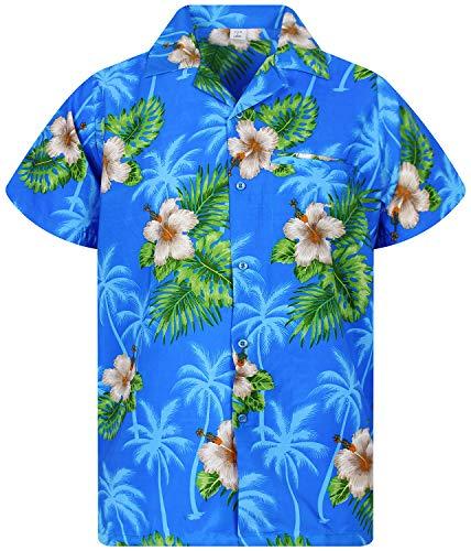 V.H.O. Funky Hawaiian Shirt, White Flower, Light Blue, XS