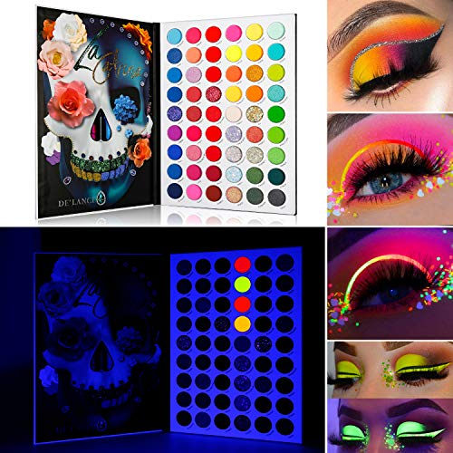 DE'LANCI Eyeshadow Palette 54 Bright Colors, Highly Pigmented Makeup Palette, Bright Neon Glitter Matte Shimmer Eye Shadow Halloween Makeup Christmas Gift for Her Makeup Eye Shadow Pallet for Girls