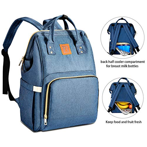 Baoyun Diaper Bag Backpack for Baby - Waterproof Maternity Baby Nappy Bags for Mom & dad - Multi-Function Travel Bags for Baby Boys & Girls with Large Insulated Cooler for Breast Milk