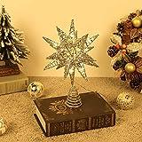 Lewondr Christbaumspitze, Glitzernder Weihnachtsbaum Topper Beleuchtete Funkelnde 3D geometrisch Stern Weihnachtsbaumspitze Weihnachten Dekoration LED Dekorativ Licht Batteriebetrieb 28cm - Champagner
