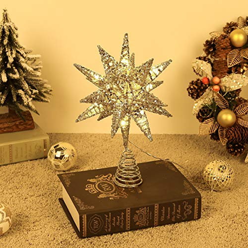 Lewondr Star Tree Topper, Battery Powered 3D Geometric Star Decorative LED Lights Beautiful Star Lighting with Springy Base for Holiday Xmas Tradition Moravian Tree Christmas Decor - Champagne Gold
