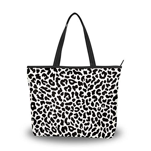 simono Polyester Tote Bag, Black&white Leopard Texture Double Side Prints Woman's Handbag, Perfect for Traveling, Shopping