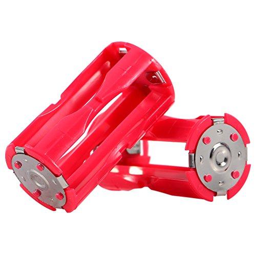 Richer-R 4 x AAA auf C Batterie Adapter, Tragbar 4 Stücke AAA zu C Größe Parallel Akku Konverter Adapter,Battery Converter Adapter Batteriehalter Box für Elektronik und Notfallsituationen Rot