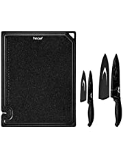hecef 5 PCS Multi-Purpose Cutting Board & Marble Pattern Knife Set