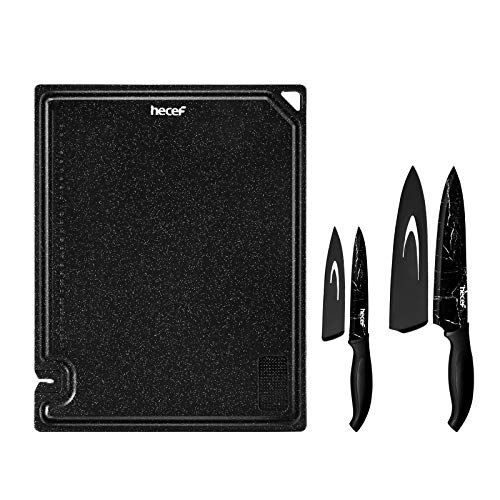 Hecef 5 PCS Multi-Purpose Cutting Board & Marble Pattern Knife Set