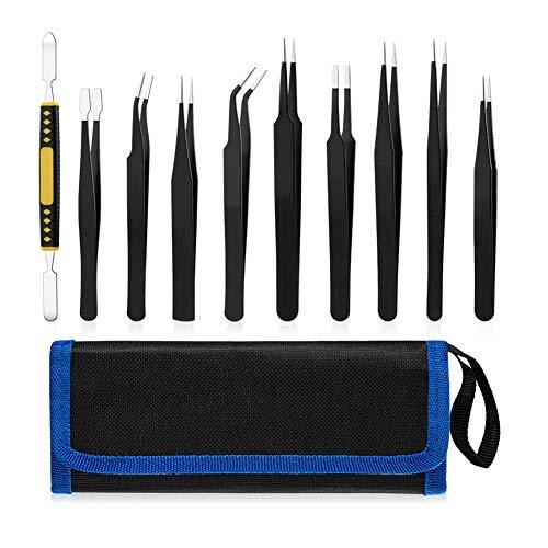 Pinzas de precisión electrónicas antiestáticas de acero inoxidable industrial ESD pinzas conjunto para soldadura artesanal 10 piezas herramienta crimper