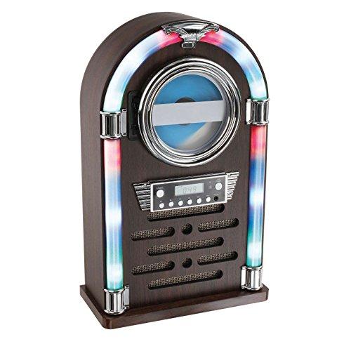 Clipsonic Bluetooth CD-Player als Jukebox Musikbox Radio Retro Farbwechsel Beleuchtung LED (Fernbedienung, Holz-Optik, AUX-In, Lautsprecher, Smartphone)