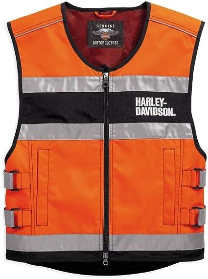 Harley Davidson Hi Visibility Orange Reflective Vest 98157 18em L Auto