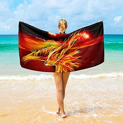 BAOYUAN0 BigFire Phoenix Asciugamano da spiaggia grande in microfibra Asciugamano da viaggio ad asciugatura rapida per uomo e donna 100 * 200 cm Coperta da picnic Miglior regalo