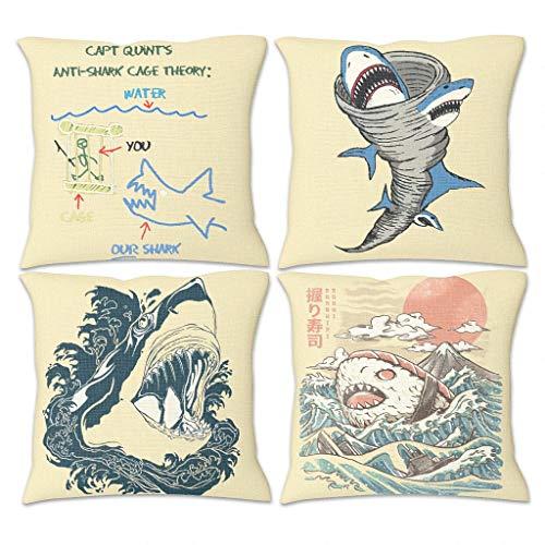 Butterfly Goods Juego de 4 fundas de cojín con diseño de tiburón, muy suaves, decoración – fundas de almohada con cremallera oculta para dormitorio, color blanco, 45 x 45 cm