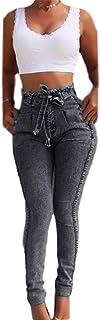 NOBRAND Vaqueros de cintura alta para las mujeres Slim Stretch Denim Jean Bodycon borla cinturón vendaje flaco push up jea...